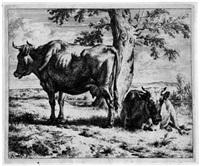 zwei kühe unter einem baum (from kühe und schafe) by adriaen van de velde