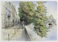 seineufer in paris (+ notre-dame, pencil, verso) by h. rolf rafflewski