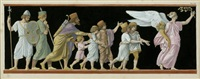 prozession geführt von einer geflügelten weiblichen figur by jean baptiste joseph wicar