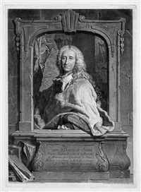 bildnis des humanmediziners jean baptiste silva (after hyacinthe rigaud) (+ 5 others; 6 works) by georg friedrich schmidt