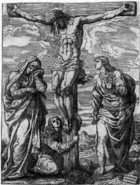 die kreuzigung christi mit maria, johannes d.t. und maria magdalena by giuseppe (salviati) porta