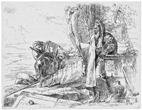 der stehende philosoph mit dem großem buch und zwei weiteren figuren by giovanni battista tiepolo