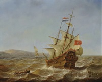 dutch galleons approaching port by jean laurent