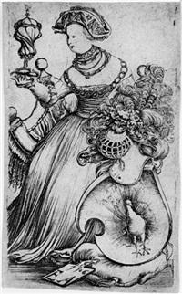 die dame mit dem pfauenwappen (allegorie der hoffart) by erhard altdorfer