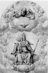 die madonna mit dem kind auf wolken thronend by hans werl