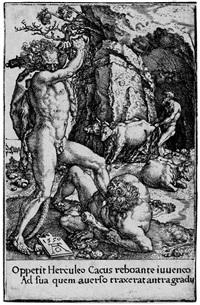 herkules und die hydra von lerna, herkules und antäus, herkules erschlägt den drachen ladon, die säulen des herkules. 4 (from die taten des herkules) by heinrich aldegrever