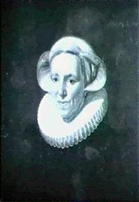 portratt av dam med pipkrage by werner van den valckert