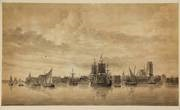 view of dordrecht with ships in the foreground by ary van wanum
