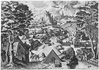 die landschaft mit abraham und den drei engeln (after mathys cock) by lucas gassel