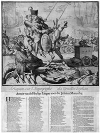 arlequin sur l hypogryphe à la croisade lojoliste/armée van de heylige lingue voor der jesuiten monarchy by romeyn de hooghe