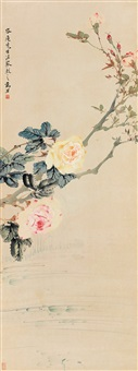 月季图 (chinese painting & calligraphy) by ma wanli