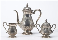 coffee set comprising coffee pot, sugar bowl with cover and cream pitcher (set of 3) by fisher silversmiths (co.)