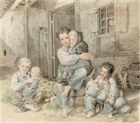mutter mit kindern, vor einem gehöft sitzend by johann lorenz kreul