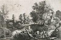 bauern mit kühen nahe eines baches (after p.p. rubens) by lucas van uden