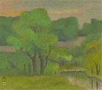a verdant landscape at dusk by kato toichi