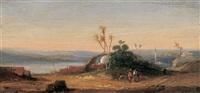 orientalische landschaft mit blick auf eine stadt und zwei wanderern im vordergrund by valery-ivanovitch jacoby