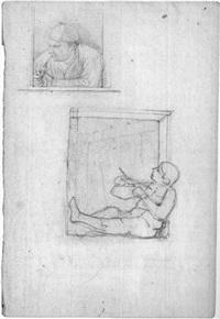 ein knabe mit flitzebogen und einem pfeife rauchenen mann by georg friedrich kersting