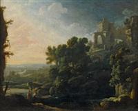 arkadische landschaft mit antiken ruinen und wanderern by pierre antoine patel