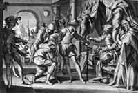 das treffen zwischen moses und jethro (+ william iii von holland genehmigt die enthauptung seines verwalters; 2 works from thronvs ivstitiae after wtewael) by willem isaaksz swanenburgh the elder