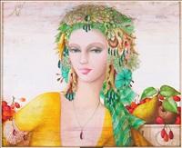 dame plumes avec des fruits by philippe augé