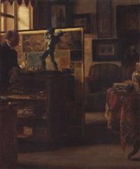 der kunstfreund - der berliner kunsthändler herrmann pächter in seinen galerieräumen by rudolf von voigtländer