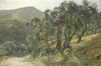 mediterrane berglandschaft mit von olivenbäumen gesäumtem weg by janus andreas barthotin la cour