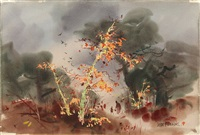 autumnnal landscape by jade fon