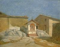 kleine kapelle in einem italienischen dorf in der römischen campagna by peter (johann p.) raadsig