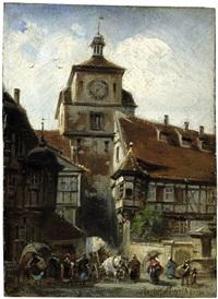 der weiße turm in rothenburg ob der tauber by paul friedrich meyerheim