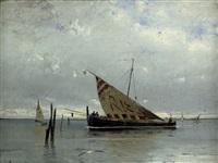 venezianisches marktboot in der lagune vor venedig by eduard fischer