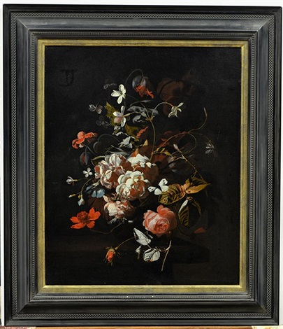 roses tulips carnations a butterfly and other flowers in a vase on a table by simon pietersz verelst