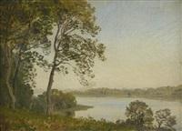 blick auf eine seenlandschaft im herbst by janus andreas barthotin la cour