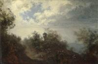 landschaft mit marterl bei aufziehendem wetter by ferdinand mallitsch