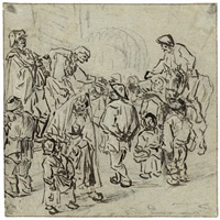 marktplatzszene mit zwei scharlatanen by jan de groot the elder