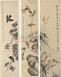 翎毛花卉 (bird and flower) (in 4 parts) by liu luanxiang