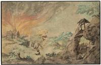 landschaft mit brennender kirche, im vordergrund ein eremit bei seiner klause by daniel van heil