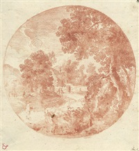 pastorale landschaft mit staffagefiguren by gabriel perelle