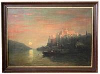 am meer gelegene südliche stadt im sanften abendrot, im vordergrund fischerboot an der mole by a. zimmermann