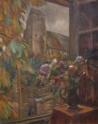 blick durch das offene fenster auf die kirche von gros-rouvres by henri le fauconnier