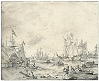 segelschiffe und ruderboote im hafen by reinier nooms