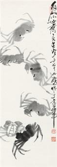 群蟹图 立轴 水墨纸本 by qi liangzhi
