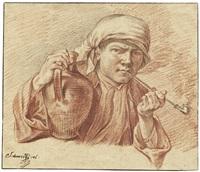 bildnis eines jungen mannes mit turban und tonpfeife by georg friedrich schmidt