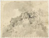 blick auf die ruine frankenstein im odenwald by eugen felix prosper bracht