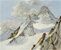 verschneite berge bei oberammergau by otto ackermann-pasegg