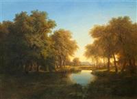 seelandschaft im sonnenuntergang by alexandre calame