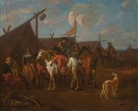 pair of works: encampment with horses by pieter van bloemen