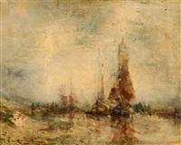 landschaft mit segelschiffen by jean etienne karnec
