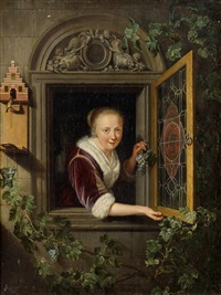 lady at a window by gerrit dou