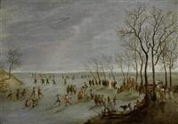 winterlandschaft mit schlittschuhläufern auf zugefrorenem fluss by robert van den hoecke