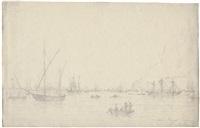 mehrere schiffe vor einer felsigen küste (gibraltar?) by daniel hermann anton melbye